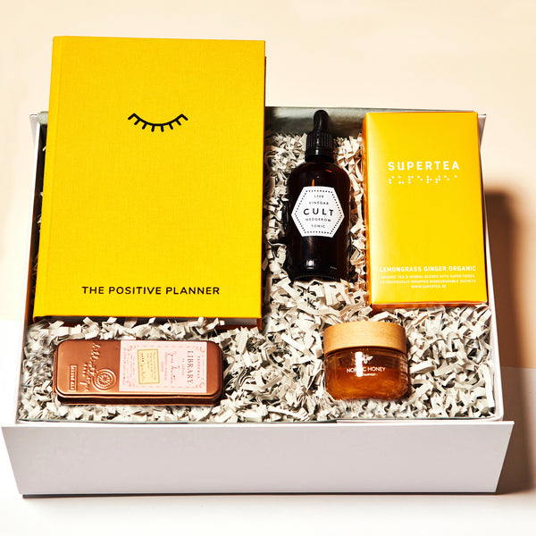 SELF CARE Parcel gift box. £68. Mothers day gift idea, present, presents, gift box, yellow, modern, spa, meditate