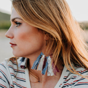 Red|White|Blue - Lace Tassel Earrings - Short