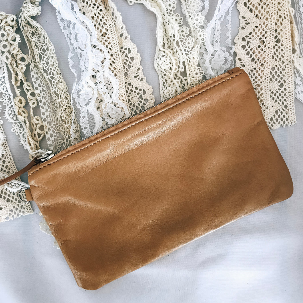 Tan Zipper Pouch
