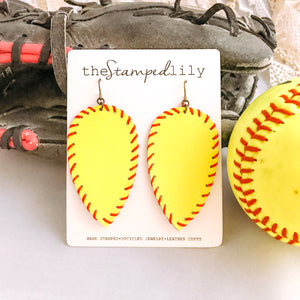 Small Leather Drop Earrings - Softball