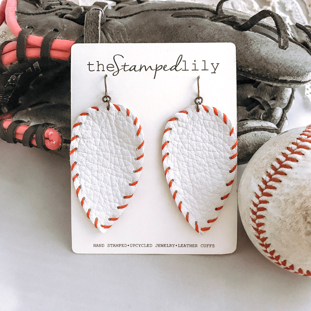 Small Leather Drop Earrings - Baseball