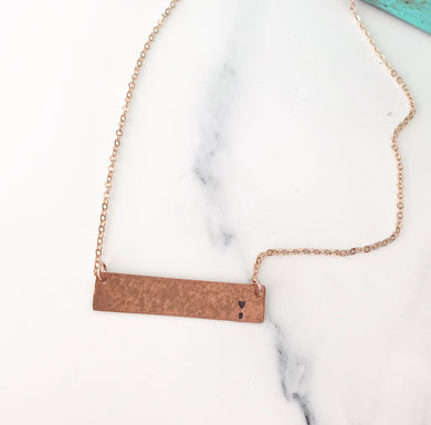 Suicide Awareness - Copper Bar Necklace