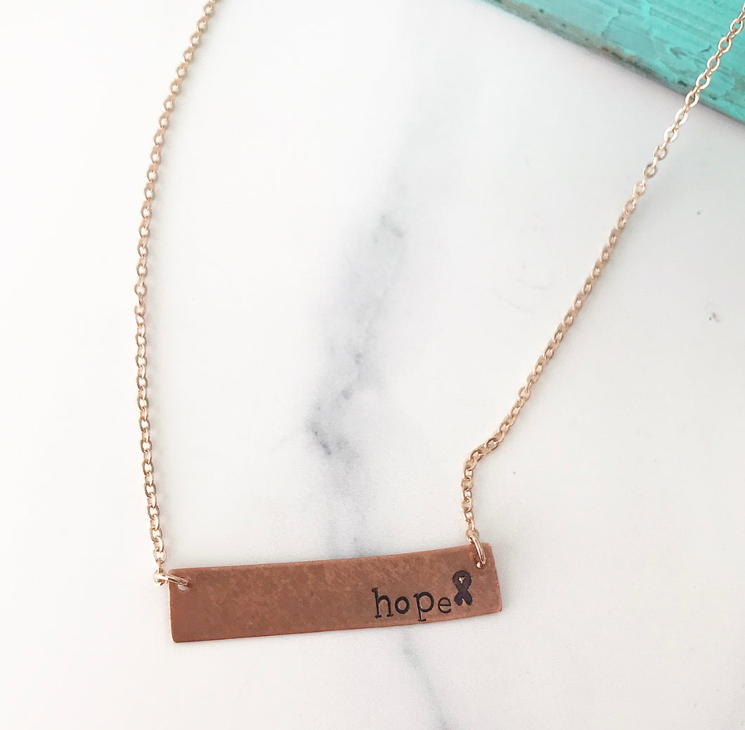 {Hope} Copper Bar Necklace