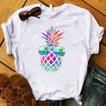 Women Shirt Ladies Female T Womens Pineapple Sunglasses Beach Cartoon Summer Fashion Graphic Printed Top Tshirt Clothes T-shirt