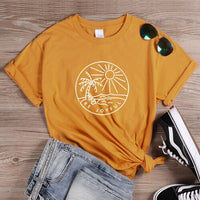 ONSEME Be Joyful Slogan T Shirt Female Casual Vacation Loose Tees Sunshine and Beach Graphic T Shirts Women's Basic Cotton Tee