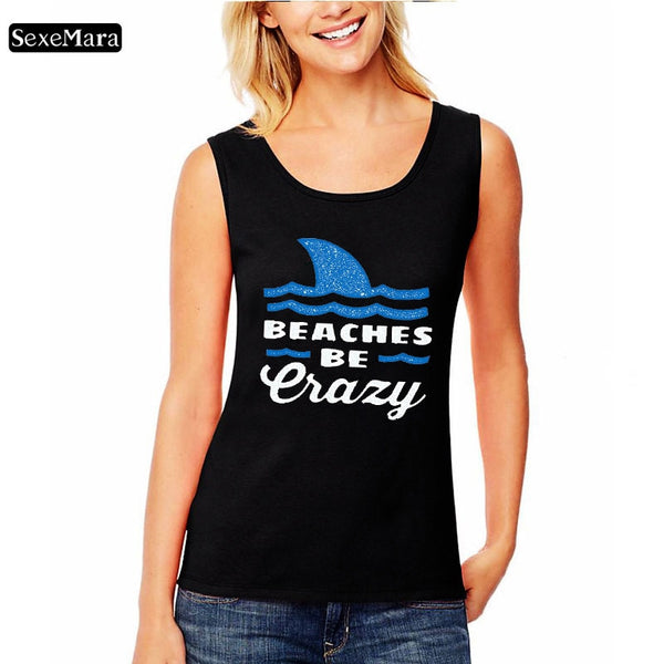 SexeMara Women's Sleeveless tank top Print Beaches be Lazy Letters Top T-Shirt Camisole 2019 New Design