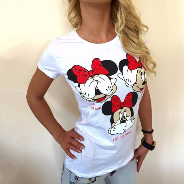 2017 Women t shirt new summer new fashion  black white three Mickey  printed  round neck T-shirt kawaii style Pink Cute S-XL