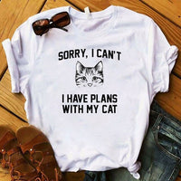 Women T Womens Cat Sunglasses Beach Fashion Cute Print Graphic Tee Shirt Femme Top Tshirt Female Ladies Clothes T-shirt