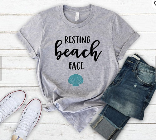 Summer Tees Woman Resting Beach Face Vacation T-shirt Female Short Sleeve O-neck Tops
