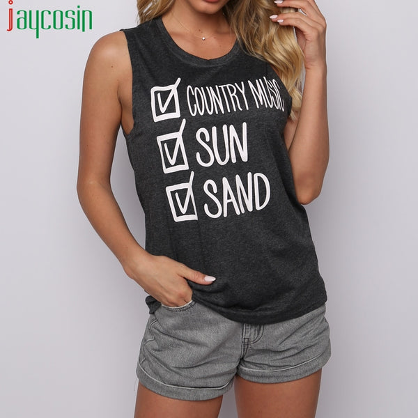 Women Tank Tops Leisure Beach Vest Letter Print Loose Sleeveless Sands Ladies Sports Vest O-Neck Plus Size Summer Femme Tank Top