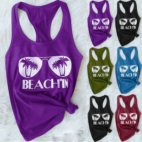 Plus Size Women Summer Fashion O-neck Beach Print Casual Tank Top Solid Color Cropped Sleeveless T-Shirt Sale and Hot Deals