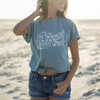 Save The Whales Clean Up The Beach New Women Tshirts Cartoon Shirt for Girls Ladies Summer Cotton Cute Graphic Top Tee Drop Ship