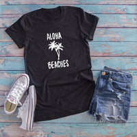 2018 Humor Lonha Beaches Coconut Tree Printed Summer Basic T Shirts Short Sleeved Cotton Tops Harajuku Round Neck T shirt Women