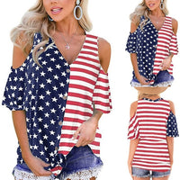 Festival American Flag Print T Shirt 4th of July Womens Patriotic Stripes Star Cold Shoulder Button Down Summer Beach Top 2019#2