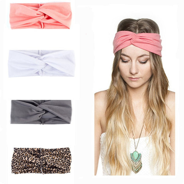 1PC Women's Turban Leopard Headbands Twist Elastic Stretch Hairbands Fashion Headband Yoga Headwrap Spa Head Band for Ladies