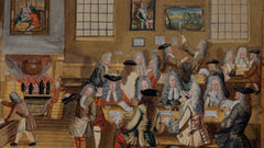 A 17th century London coffeehouse, also known as penny university