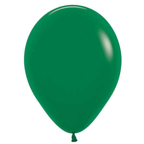 Forest green latex balloon.