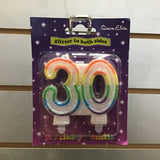 Number 30 Candle - Multicolour