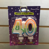 Number 40 Candle - Multicolour