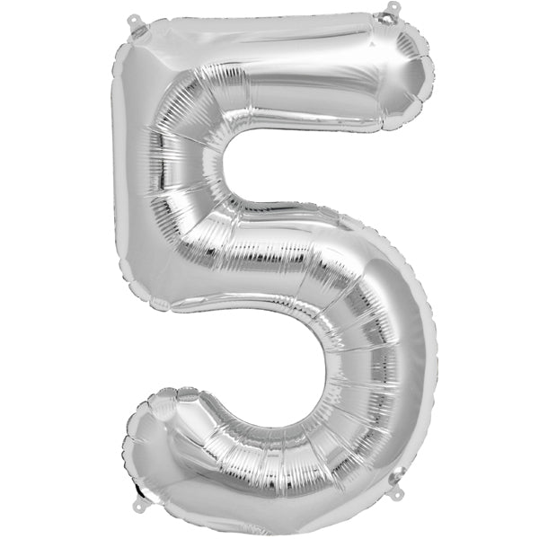 Silver five shaped balloon.