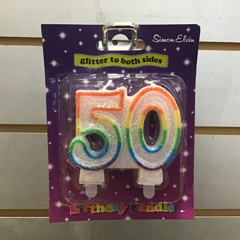 Number 50 Candle - Multicolour