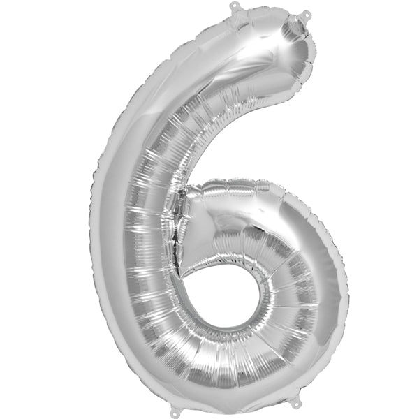 Silver six shaped balloon.