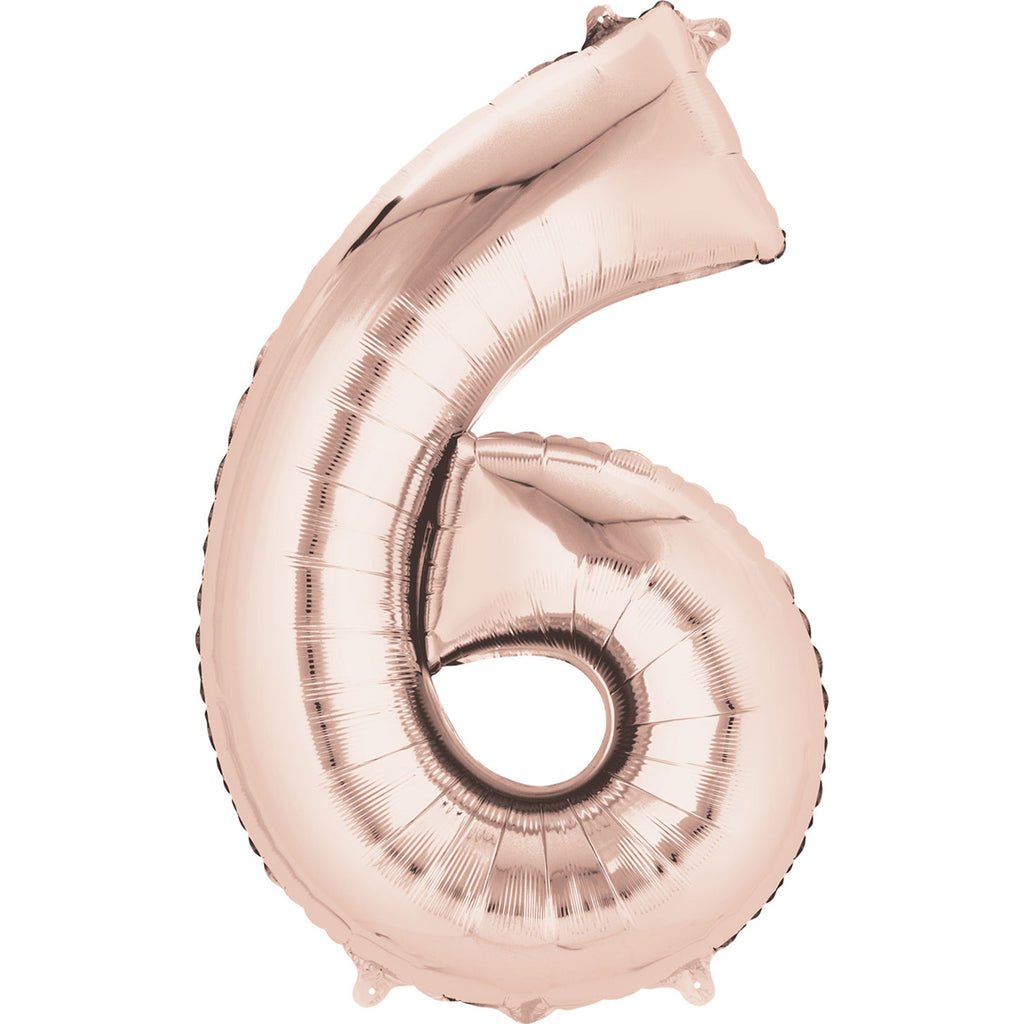 Rose gold six shaped balloon.