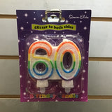 Number 60 Candle - Multicolour