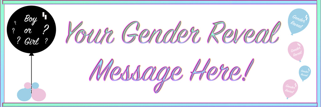Pink and blue gender reveal personalised banner.
