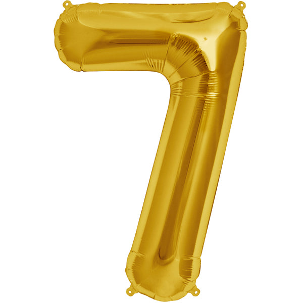 Gold seven shaped balloon.