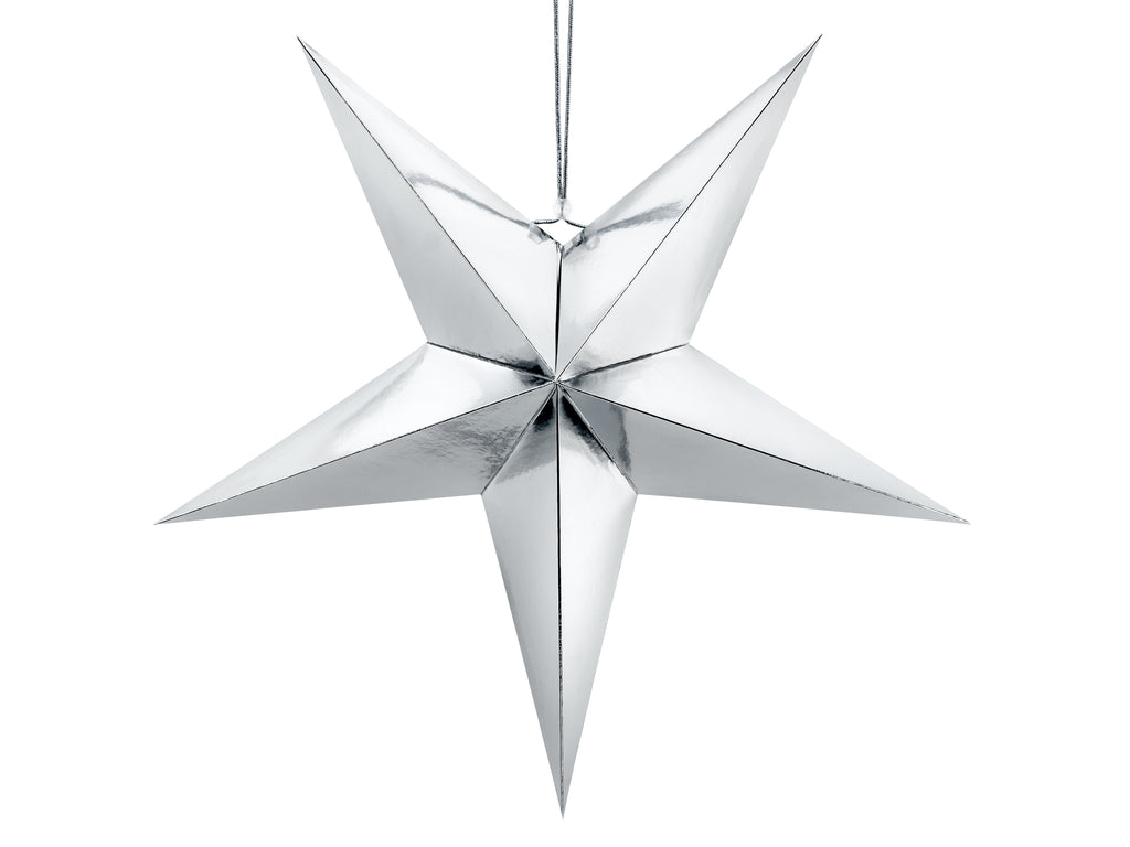 Large paper silver star decoration.