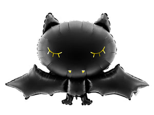 Black bat shaped foil balloon.