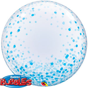 Clear balloon with blue confetti dots.