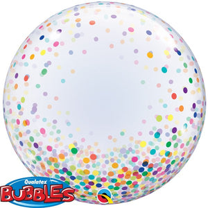 Clear balloon with colourful confetti dots.