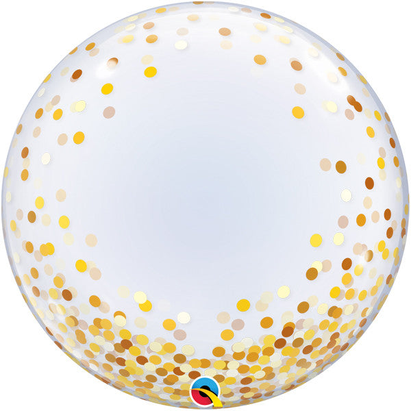 Clear balloon with gold confetti dots.