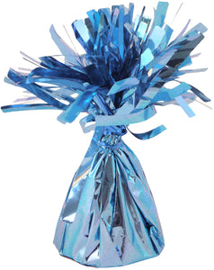 Baby blue foil balloon weight.