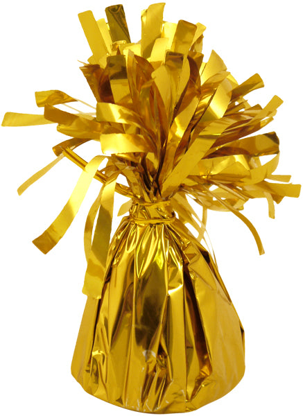 Gold foil balloon weight.