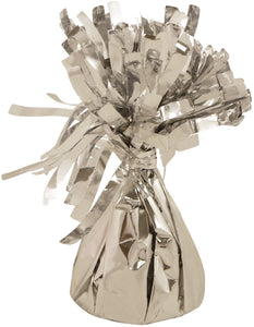 Silver foil balloon weight.