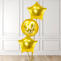 Gold 30th Birthday Balloon Bouquet - Style 011