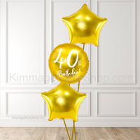Gold 40th Birthday Balloon Bouquet - Style 012
