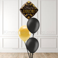 Black & Gold Balloon Bouquet - Style 010