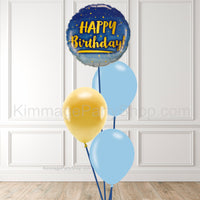 Blue & Gold Balloon Bouquet - Style 009