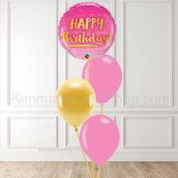 Pink & Gold Balloon Bouquet - Style 008