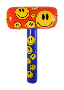 Inflatable mallet with smile emoji print.
