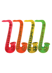 Different coloured inflatable saxophones.