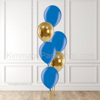 Blue & Gold Balloon Bouquet - Style 004