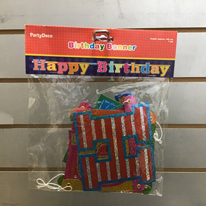 Shaped Letter Party Banner - Happy Birthday Multicolour