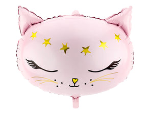 Pink cat head shaped balloon.