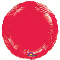 Red round shaped foil balloon.