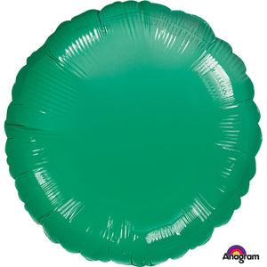 Green round shaped foil balloon.